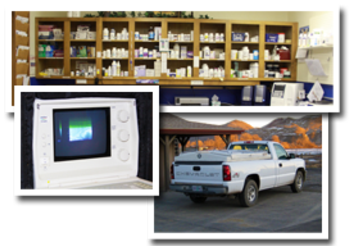 A group of photos for the laboratory services offered. The top photo is of the pharmacy, the left photo is of the ultrasound machine and the right photo is of the traveling truck